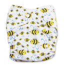 BiddyKins Newborn All-in-One Cloth Nappy - White with Bees