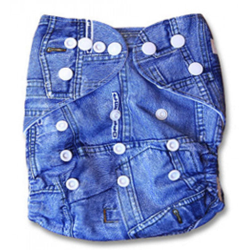 BiddyKins Newborn All-in-One Cloth Nappy - Demin Jeans