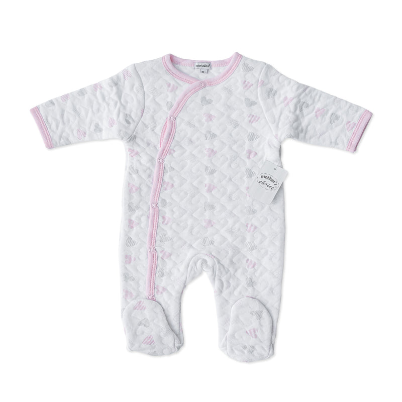Mother's Choice Quilted BabyGrow - Pink and Grey Hearts