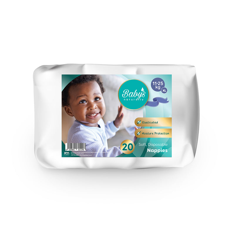 Baby's Naturally Disposable Nappies - XL (11-25kg) - 20-pack