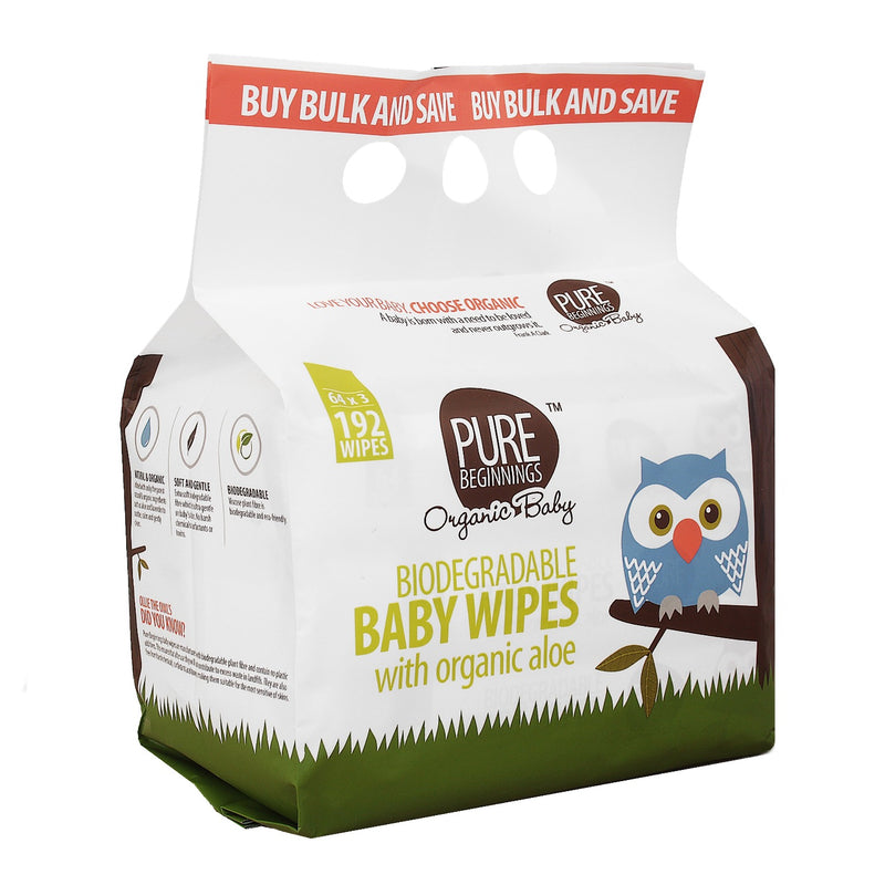Pure Beginnings Biodegradable Baby Wipes with Organic Aloe - 3-Pack