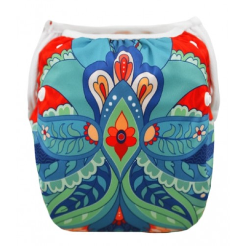 BiddyKins Swim Nappy/Costume - Blue Orange Geometrical Floral