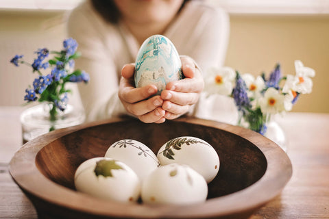Marbled Easter eggs and pressed flower eggs