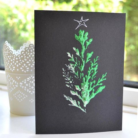 leaf print christmas card