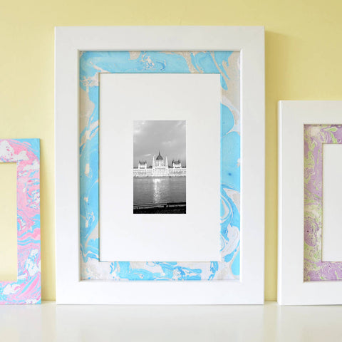 DIY marbled picture mount for framing