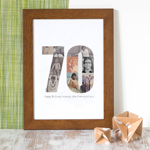 Personalised Birthday Photo Print 60th, 70th, 80th