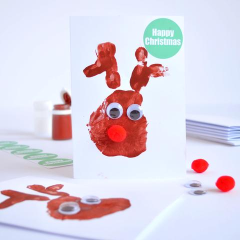 handprint reindeer christmas card
