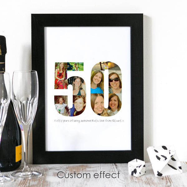 Birthday Photograph Personalised Print 40th, 50th, 60th