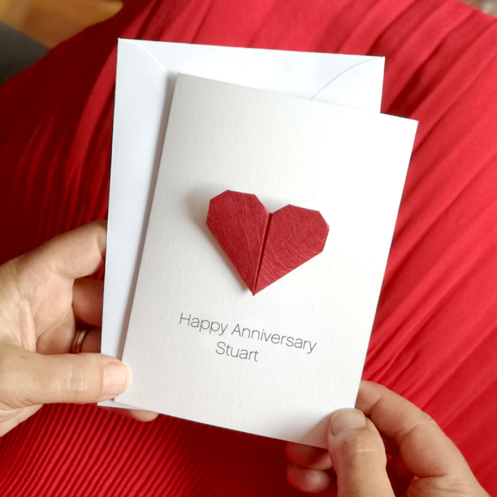 Personalised Anniversary Origami Heart Card