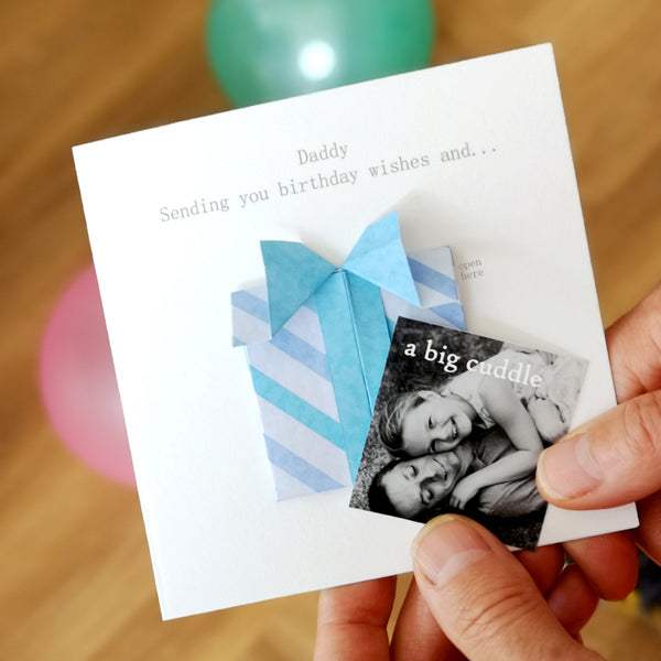 Personalised Birthday Origami Hidden Photo Card For Dad