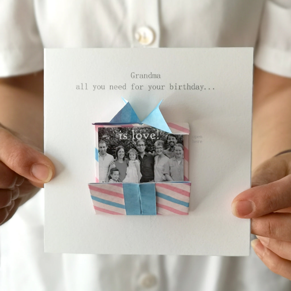Personalised Birthday Origami Hidden Photo Card For Grandma