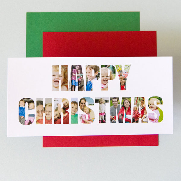 Personalised 'Happy Christmas' Photograph Cards