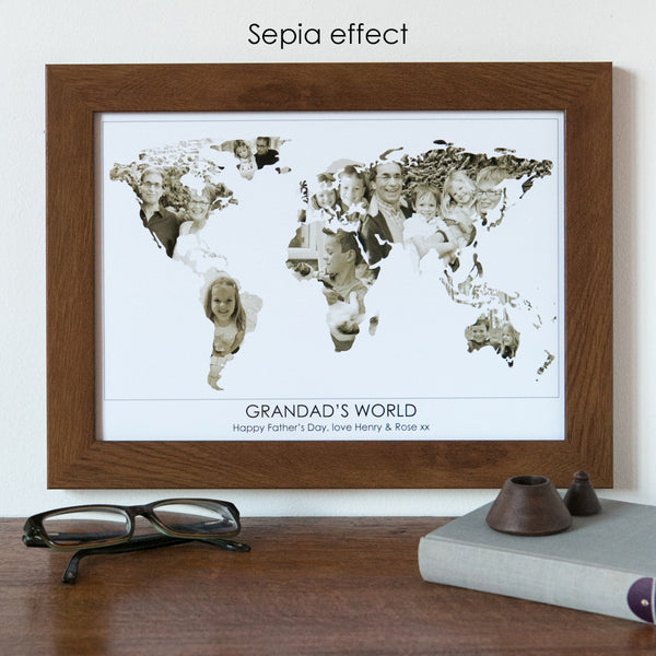 Personalised 'Grandad's World' Photograph Map