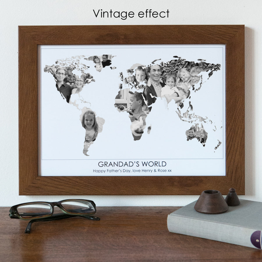 Personalised 'Grandad's World' Photo Map