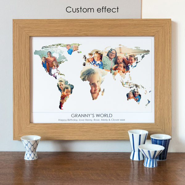 Personalised 'Granny's World' Photograph Map