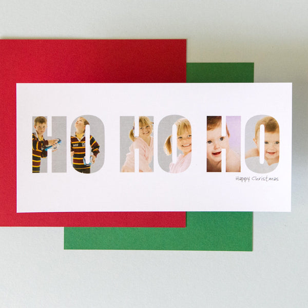Personalised 'Ho Ho Ho' Photograph Christmas Cards