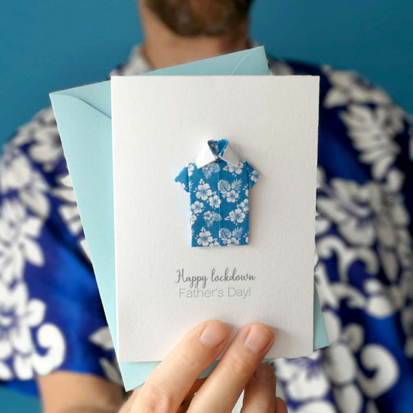 Lockdown Father's Day origami Hawaiian shirt card