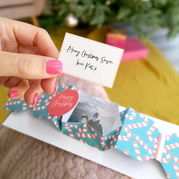 Personalised Origami Christmas Cracker Photo Greeting card