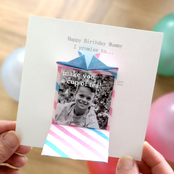 Personalised Birthday Origami Photo Card For Mum