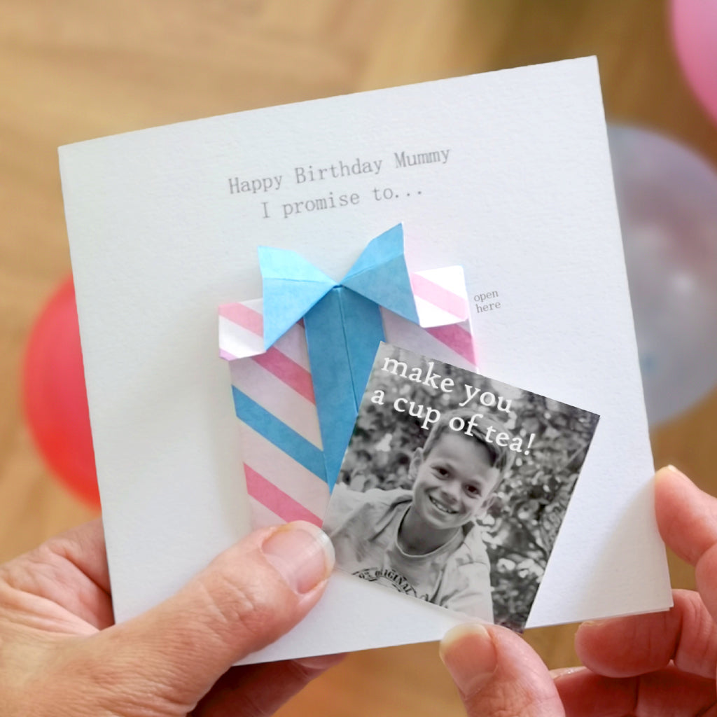 Personalised Birthday Origami Hidden Photo Card For Mum