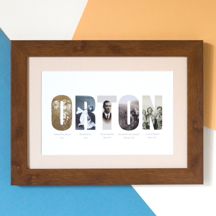 Personalised Family History Photo Gift Print
