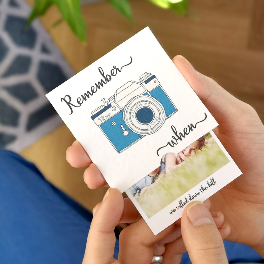 "Personalised ""remember when"" photo slider card"