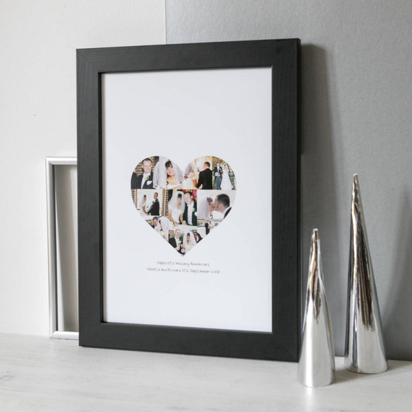 Wedding Anniversary Photo Heart Collage Print