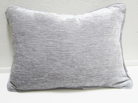 Silver velvet pillow cover with piping trim