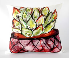 Succulent Watercolor Painting Pillow by Ramon Soto