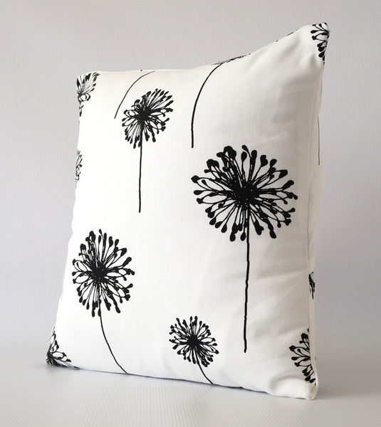 black and white pillow cover with dandelion print