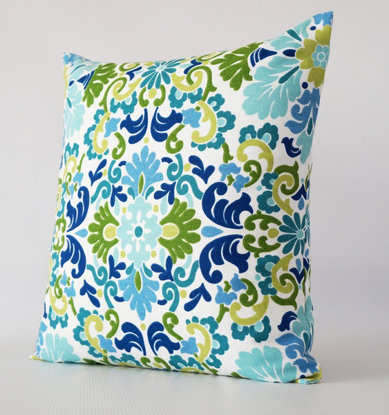 blue and green pillow cover with damask pattern