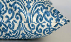 Blue Pillow Cover with Small Ikat Design