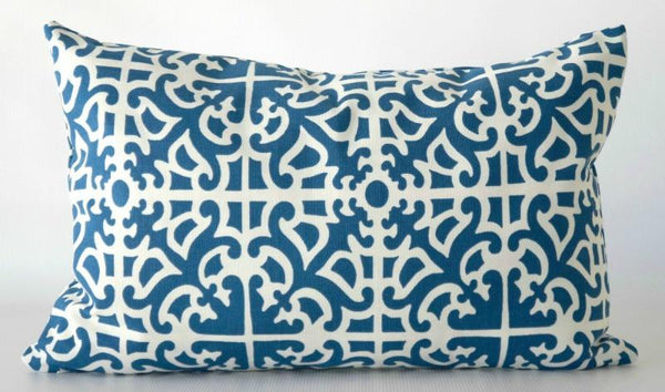Blue White Geometric Lumbar Pillow Cover