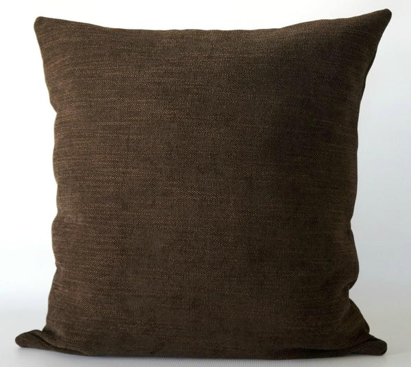 Brown chenille pillow cover