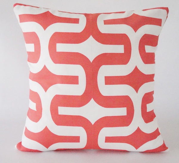 Coral Pillow Cover with Geometric Design