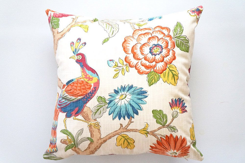 Peacock Floral Pillow Cover
