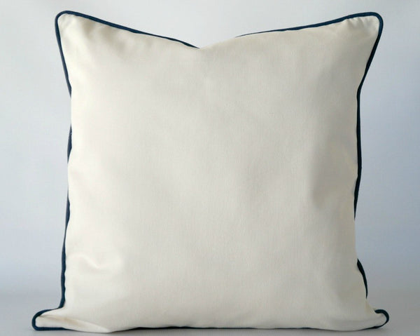 Off white square pillow cover with navy trim