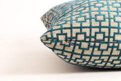 Geometric Beige and Blue Chenille Pillow Cover