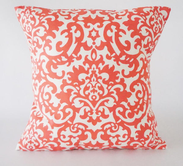 Coral Pillow Cover Damask Pattern