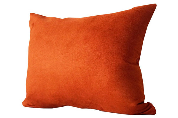 Faux Suede Burnt Orange Lumbar Pillow Cover