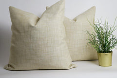 Two pillow covers in gold linen by Olivia's Smile Decor