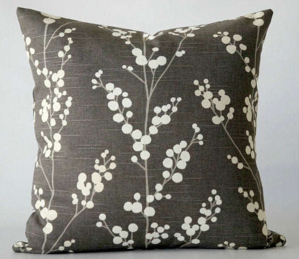 Gray Pillow Cover with White Branches