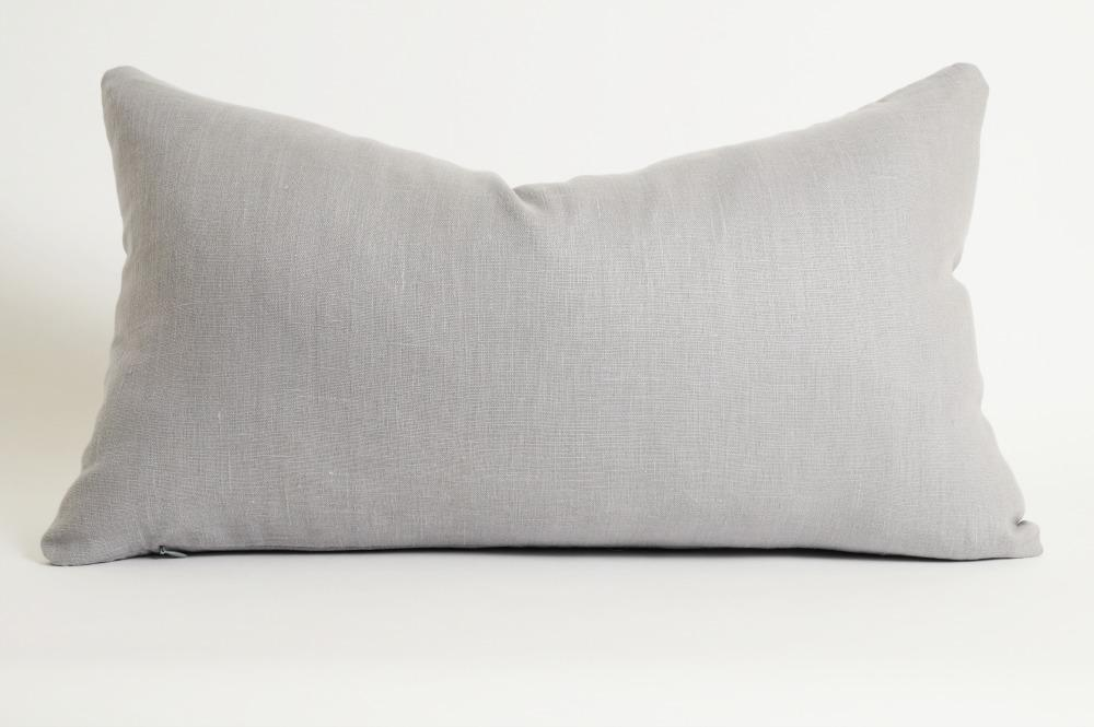 Gray linen lumbar pillow cover by Olivia