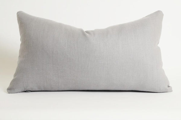 Gray Linen Lumbar Pillow Cover