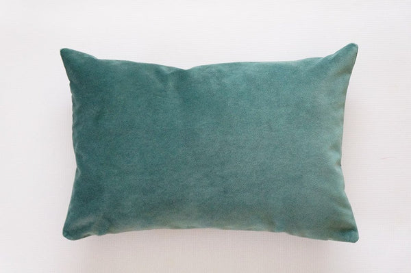 Green Velvet Lumbar Pillow Cover