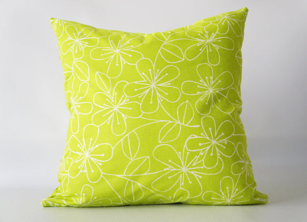Lime Green Floral Pillow Cover