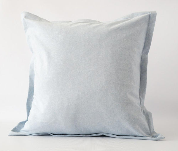 Blue linen Euro sham pillow cover