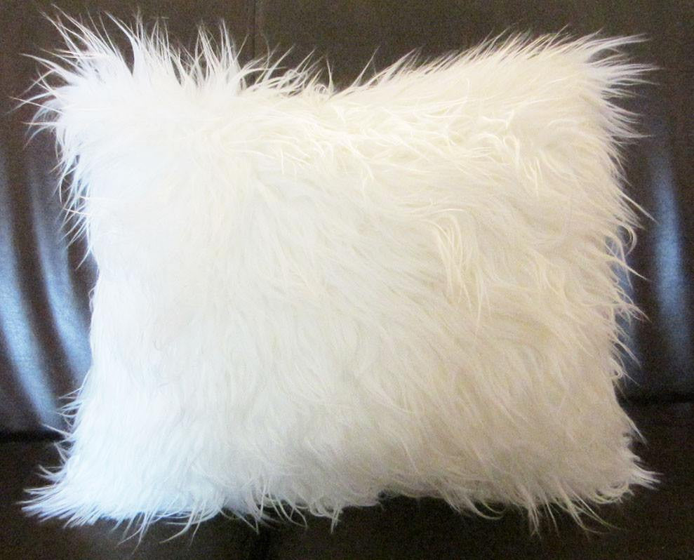 Mongolian faux fur lumbar pillow cover with silver back