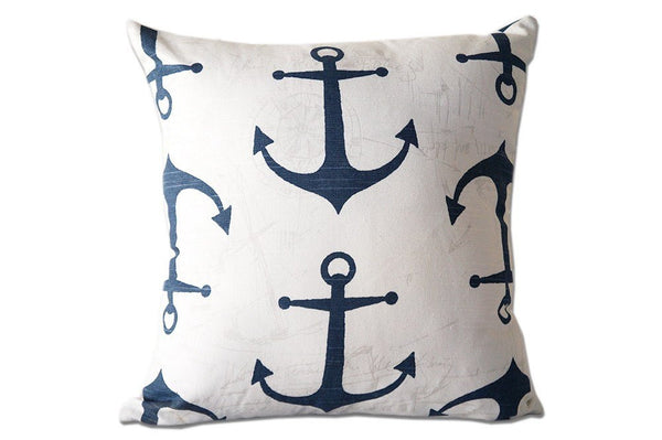 Navy Blue and White Pillow Cover with Anchors for Beach Decor