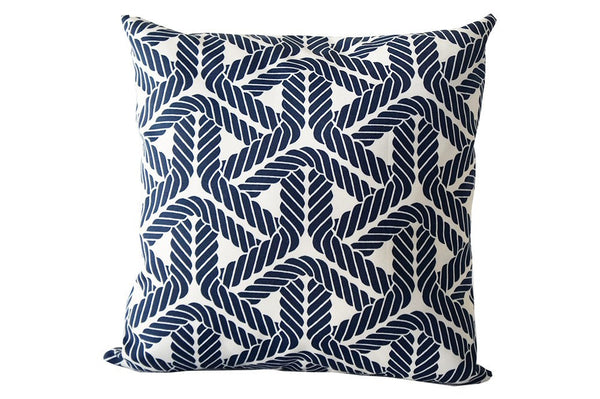 Navy Blue and White Rope Design Pillow Cover